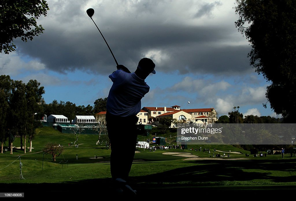 Stuart Appleby of Australia hits his tee shot on the ninth hole during round one of the Northern Trust Open at Riviera Counrty Club on February 17, 2011 in Pacific Palisades, California.