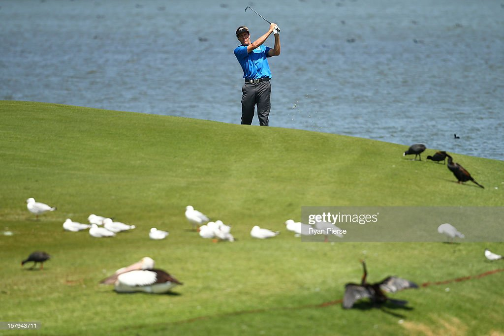 Stuart Appleby of Australia plays a fairway shot during round three of the 2012 Australian Open at The Lakes Golf Club on December 8, 2012 in Sydney, Australia.
