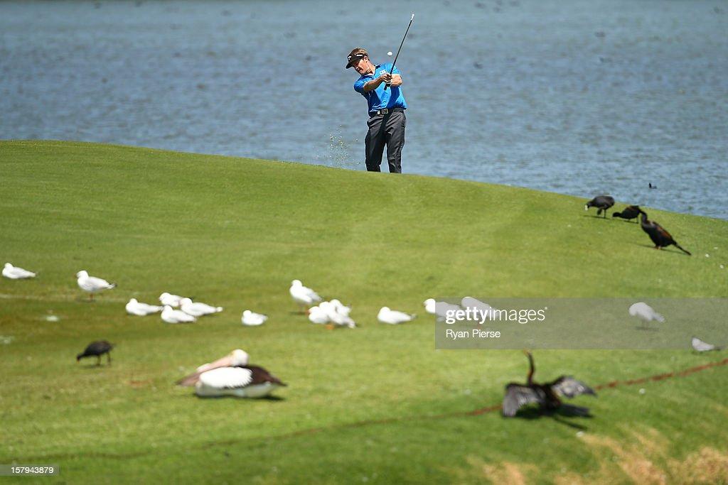 Stuart Appleby of Australia plays a fairway shot during round three of the 2012 Australian Open at The Lakes Golf Club on December 8, 2012 in Sydney, Australia.