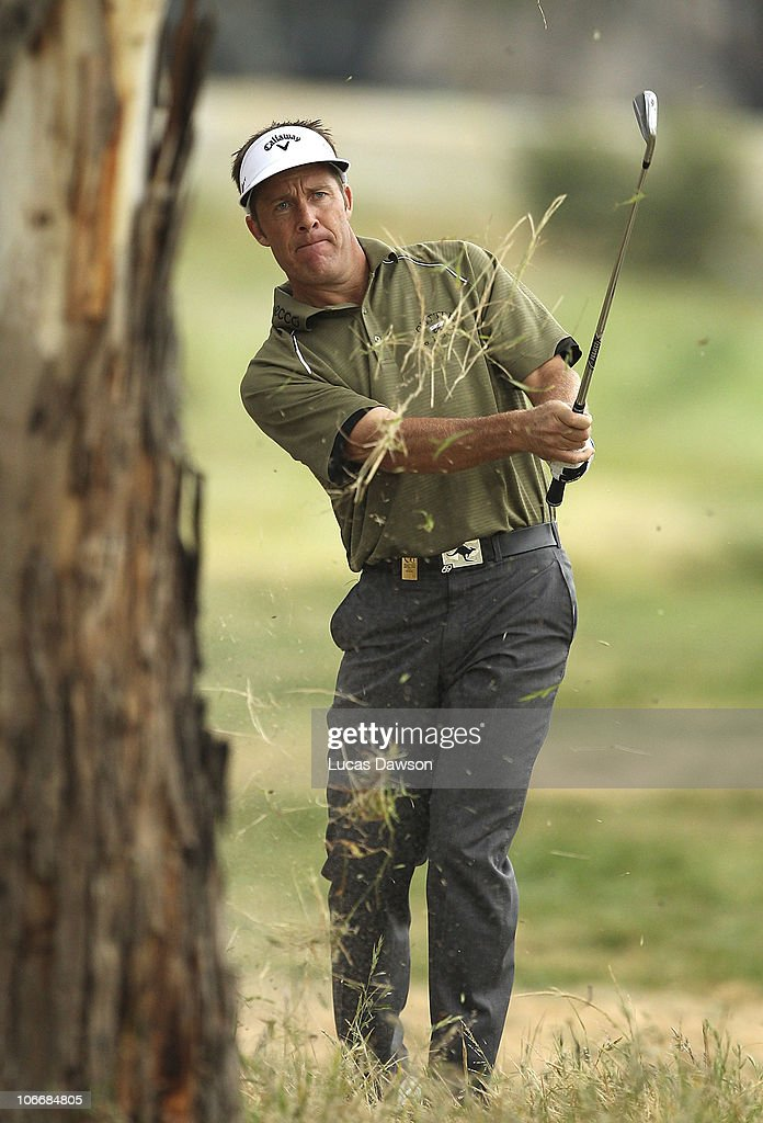 Stuart Appleby of Australia plays a shot during day one of the Australian Masters at The Victoria Golf Club on November 11, 2010 in Melbourne, Australia.