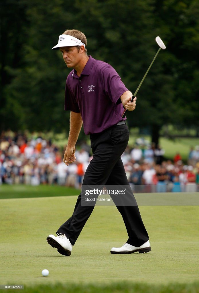 <a gi-track='captionPersonalityLinkClicked' href=/galleries/search?phrase=Stuart+Appleby&family=editorial&specificpeople=183401 ng-click='$event.stopPropagation()'>Stuart Appleby</a> of Australia reacts as his birdie putt falls on the 18th green to finish with an 11-under par 59 during the final round of the Greenbrier Classic on The Old White Course at the Greenbrier Resort on August 1, 2010 in White Sulphur Springs, West Virginia.