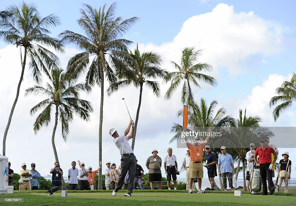 <a gi-track='captionPersonalityLinkClicked' href=/galleries/search?phrase=Stuart+Appleby&family=editorial&specificpeople=183401 ng-click='$event.stopPropagation()'>Stuart Appleby</a> of Australia tees off on the 14th hole during the third round of the Sony Open in Hawaii held at Waialae Country Club on January 16, 2011 in Honolulu, Hawaii.