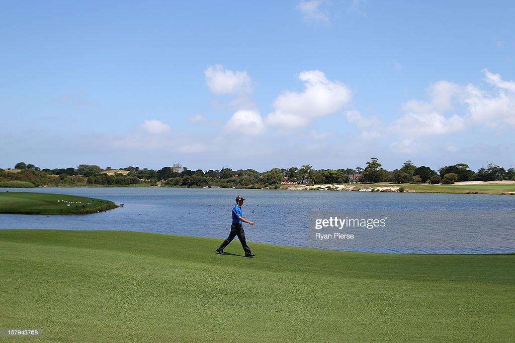 Stuart Appleby of Australia walks down the fairway during round three of the 2012 Australian Open at The Lakes Golf Club on December 8, 2012 in Sydney, Australia.