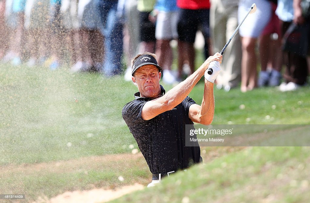 Stuart Appleby plays his shot out of the bunker on the 12th during Round Three of the Valero Texas Open at TPC San Antonio AT&T Oaks Course on March 29, 2014 in San Antonio, Texas.