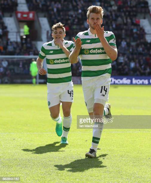 Stuart Armstrong of Celtic celebrates after he scores his team's third goal during the Ladbrokes Premiership match between Hearts and Celtic at...