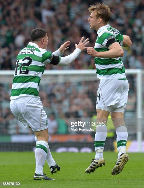 Stuart Armstrong of Celtic celebrates scoring a goal early in the first half with team mate Callum McGregor during the William Hill Scottish Cup...