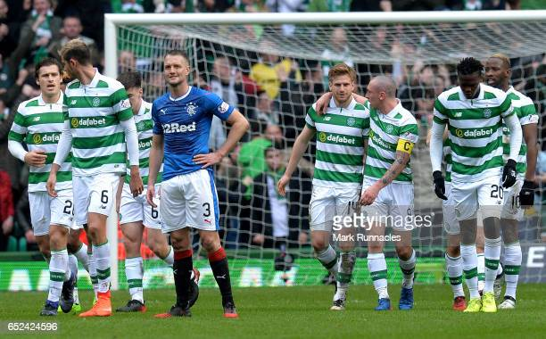 Stuart Armstrong of Celtic celebrates scoring his sides first goal with Scott Brown of Celtic during the Ladbrokes Scottish Premiership match between...