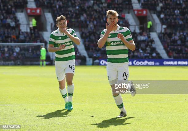 Stuart Armstrong of Celtic celebrates scoring his sides third goal with James Forrest of Celtic during the Ladbrokes Scottish Premiership match...