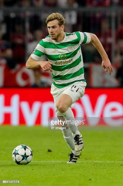 Stuart Armstrong of Celtic controls the ball during the UEFA Champions League group B match between Bayern Muenchen and Celtic FC at Allianz Arena on...