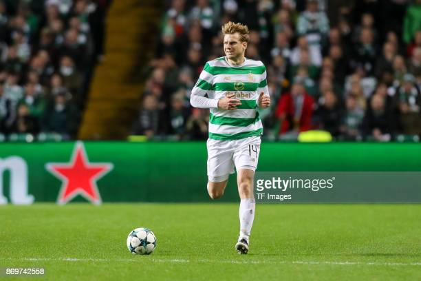 Stuart Armstrong of Celtic controls the ball during the UEFA Champions League group B match between Celtic FC and Bayern Muenchen at Celtic Park on...
