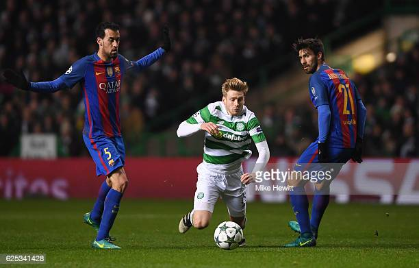 Stuart Armstrong of Celtic is fouled by Sergio Busquets of Barcelona during the UEFA Champions League Group C match between Celtic FC and FC...
