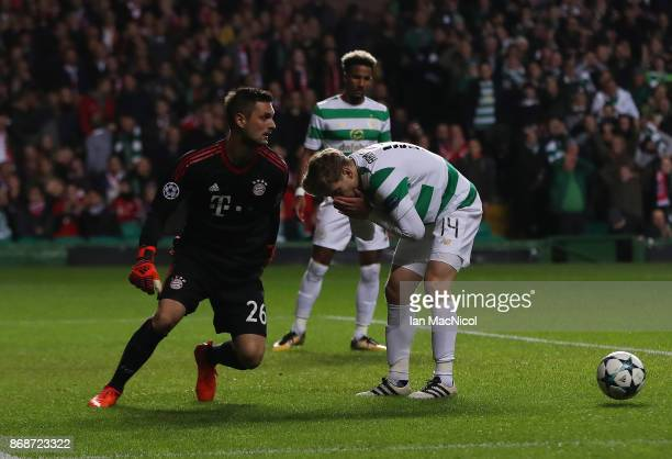 Stuart Armstrong of Celtic reacts after he shoots at goal during the UEFA Champions League group B match between Celtic FC and Bayern Muenchen at...