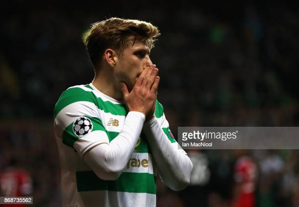 Stuart Armstrong of Celtic reacts during the UEFA Champions League group B match between Celtic FC and Bayern Muenchen at Celtic Park on October 31...