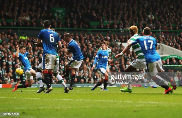 Stuart Armstrong of Celtic scores the opening goal during the Ladbrokes Scottish Premiership match between Celtic and Rangers at Celtic Park on March...