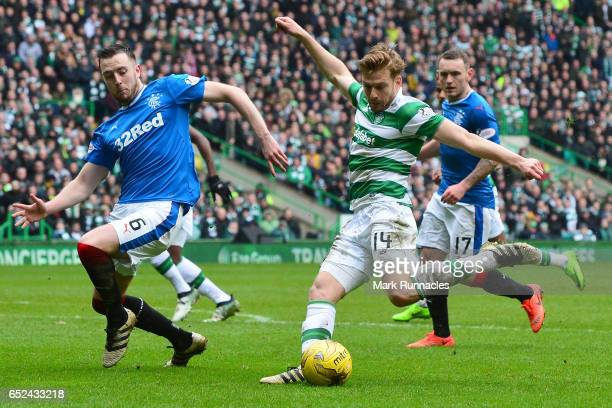 Stuart Armstrong of Celtic shoots at goal during the Ladbrokes Scottish Premiership match between Celtic and Rangers at Celtic Park on March 12 2017...