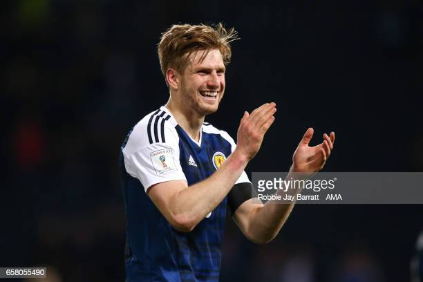 Stuart Armstrong of Scotland applauds the fans at full time during the FIFA 2018 World Cup Qualifier between Scotland and Slovenia at Hampden Park on...