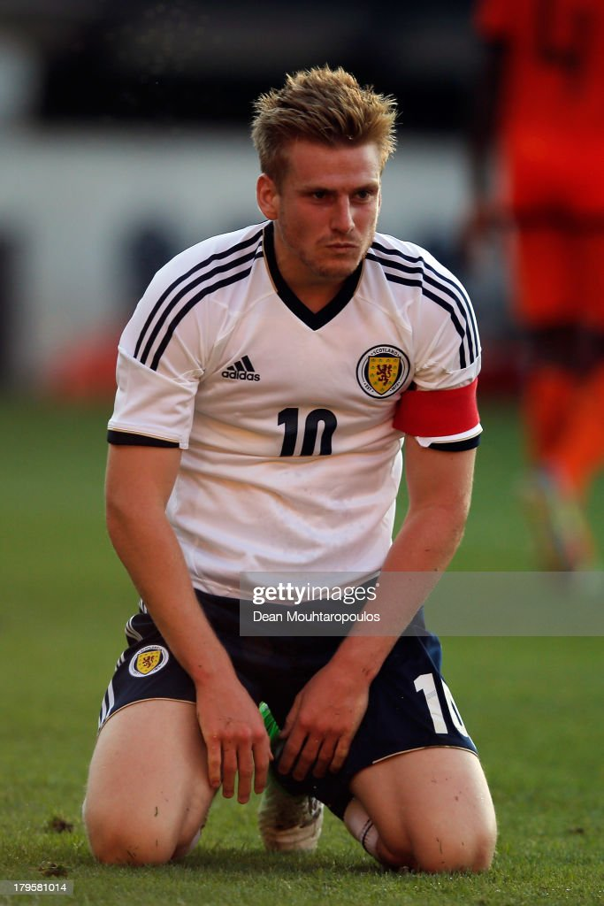 Stuart Armstrong of Scotland reacts after shooting on goal and missing during the 2015 UEFA European U21 Championships Qualifier between Netherlands U21s and Scotland U21s held at De Goffert Stadion on September 5, 2013 in Nijmegen, Netherlands.