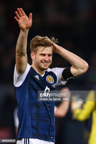 Stuart Armstrong of Scotland waves to the fans at full time during the FIFA 2018 World Cup Qualifier between Scotland and Slovenia at Hampden Park on...