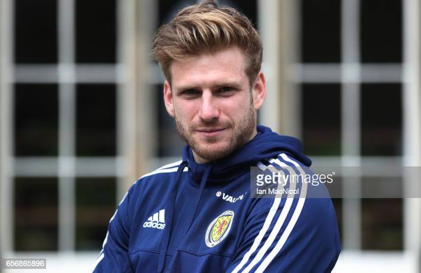 Stuart Armstrong poses for photographs after a training session at Mar Hall on March 23 2017 in Erskine Scotland