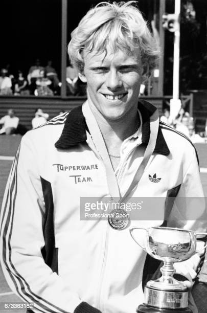 Stuart Bale of Great Britain posing with the Under 18's Boys Trophy in Eastbourne England circa June 1982