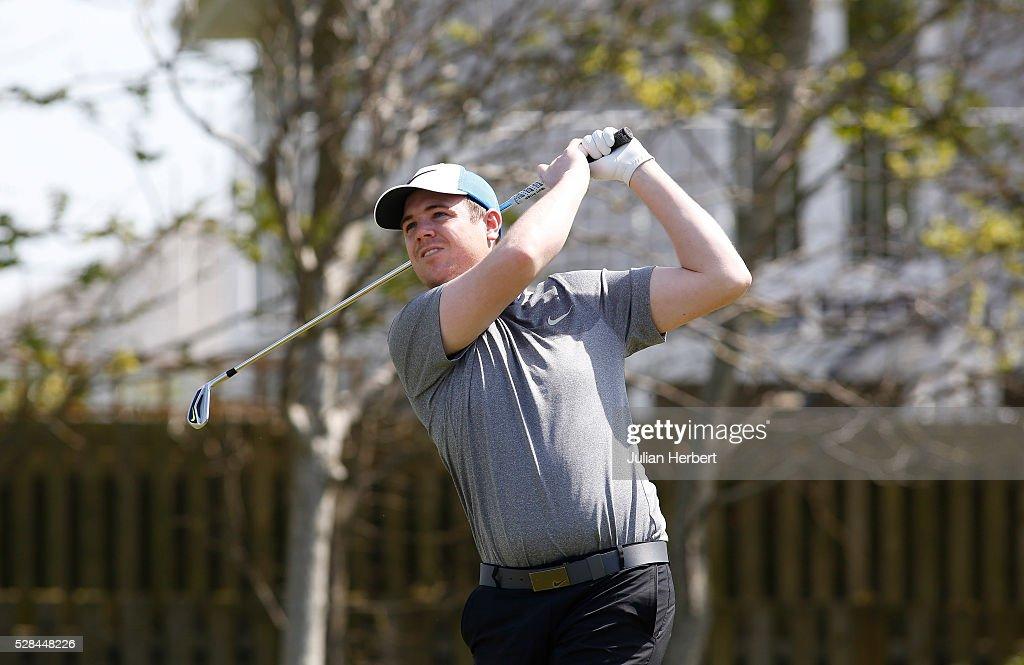 Stuart Barrett of Wrangaton Golf Club plays his first shot on the 1st tee during the PGA Professional Championship - West Qualifier at Burnham And Berrow Golf Club Club on May 5, 2016, in Burnham-On-Sea, England.