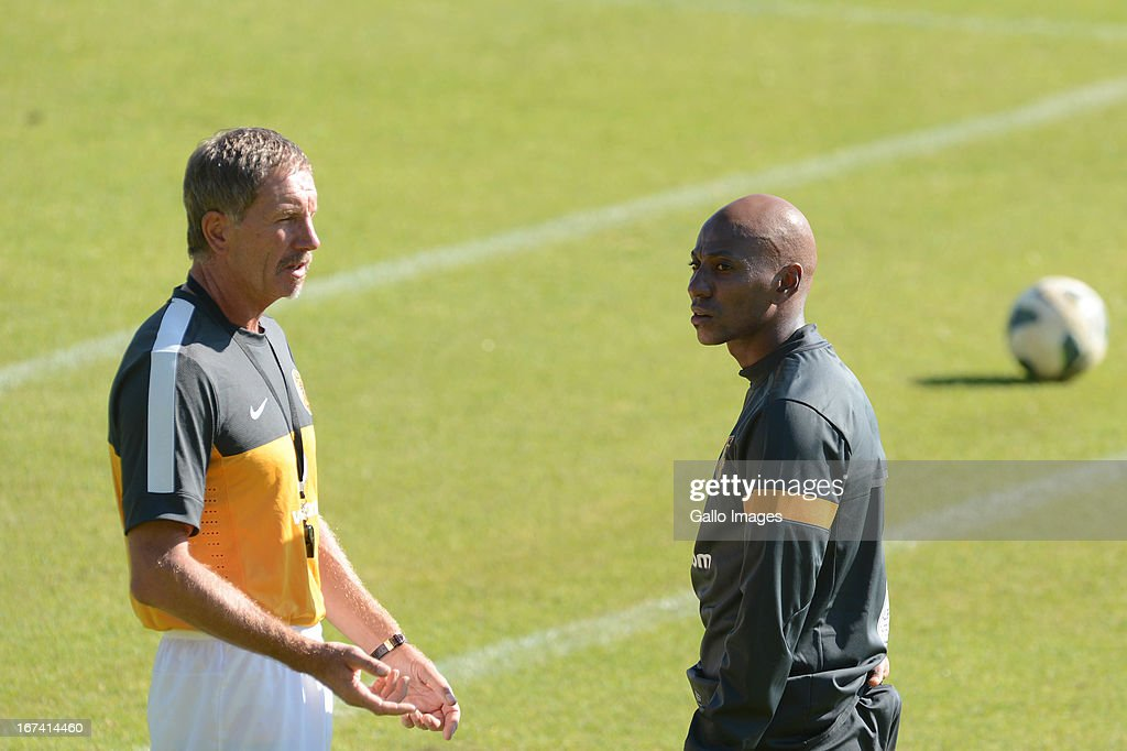 Stuart Baxter and Kaizer Motaung Jnr attend a Kaizer Chiefs training session at Naturena on April 25 2013 in Johannesburg South Africa
