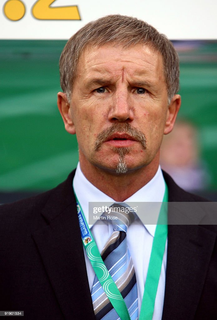 Stuart Baxter head coach of Finland poses prior to the the FIFA 2010 World Cup Group 4 Qualifier match between Germany and Finland at the Hamburg...