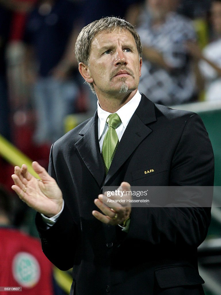 Stuart Baxter head coach of the South African National Team looks on before the friendly match between Germany and South Africa at the Weser Stadium...