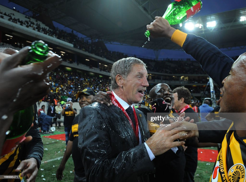 Stuart Baxter of Chiefs gets a shower in champagne during the Absa Premiership match between University of Pretoria and Kaizer Chiefs at Mbombela...