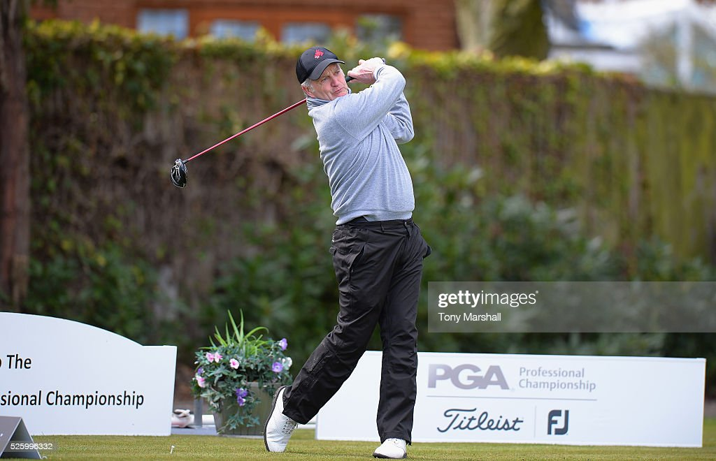 Stuart Betteridge of Sherwood Forest Golf Club plays his first shot on the 1st tee during the PGA Professional Championship - Midland Qualifier at Little Aston Golf Club on April 29, 2016 in Sutton Coldfield, England.