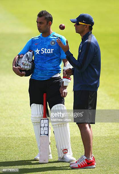 Stuart Binny of India talks to Rahul Dravid during a India nets session at Trent Bridge on July 7 2014 in Nottingham England