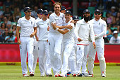 Stuart Broad and James Taylor celebrate the wicket of Stiaan van Zyl during the day 2 of the 1st test match between South Africa and England at...