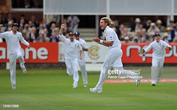 Stuart Broad celebrates the dismissal of Hashim Amla who was caught by Tim Ambrose England v South Africa 1st Test Lord's Jul 08