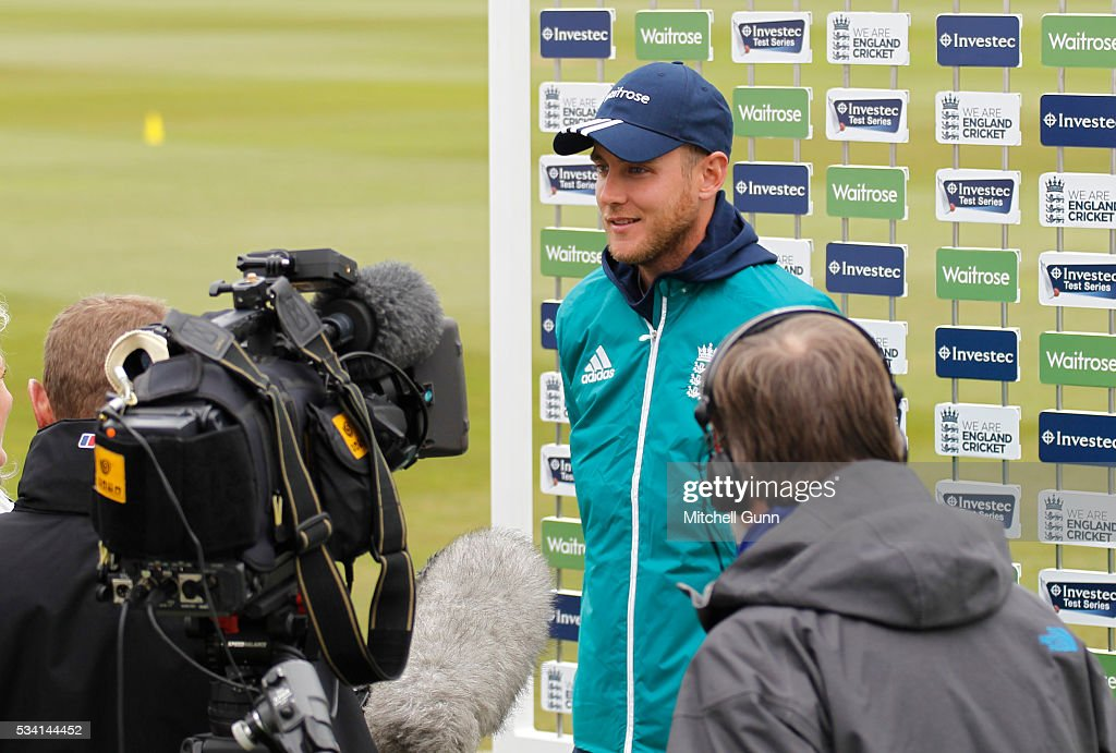 <a gi-track='captionPersonalityLinkClicked' href=/galleries/search?phrase=Stuart+Broad&family=editorial&specificpeople=574360 ng-click='$event.stopPropagation()'>Stuart Broad</a> during a press conference prior to the England Nets session ahead of the 2nd Investec Test match between England and Sri Lanka at Emirates Durham ICG on May 25, 2016 in Chester-le-Street, United Kingdom.
