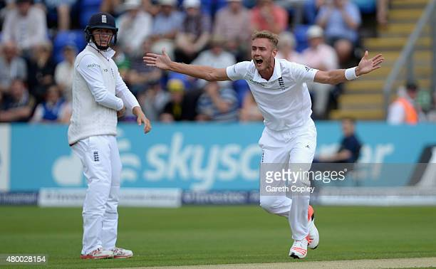 Stuart Broad of England appeals for the wicket of Chris Rogers of Australia during day two of the 1st Investec Ashes Test match between England and...