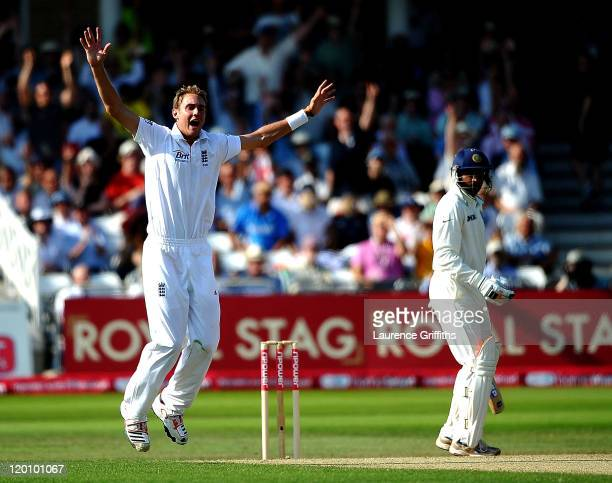 Stuart Broad of England appeals for the wicket of Harbhajan Singh of India during the second npower Test match between England and India at Trent...