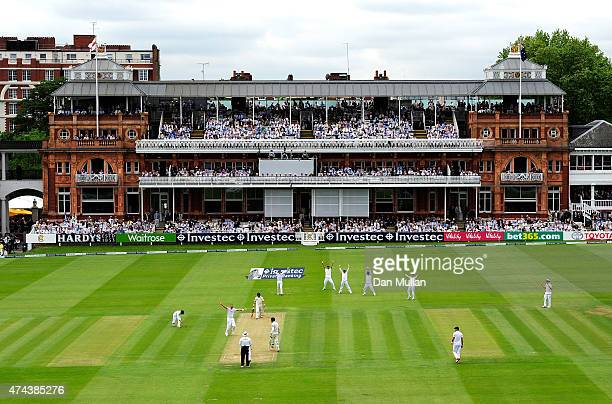 Stuart Broad of England appeals unsuccessfully for the wicket of Ross Taylor of New Zealand during day two of the 1st Investec Test Match between...