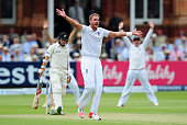 Stuart Broad of England appeals unsuccessfully for the wicket of Tom Latham of New Zealand during day two of the 1st Investec Test Match between...