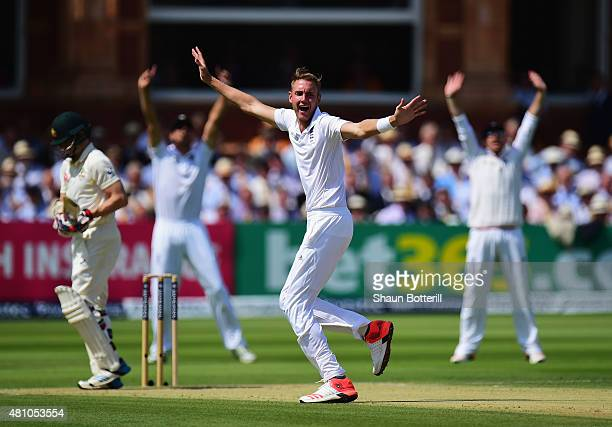 Stuart Broad of England appeals unsucessfully during day two of the 2nd Investec Ashes Test match between England and Australia at Lord's Cricket...