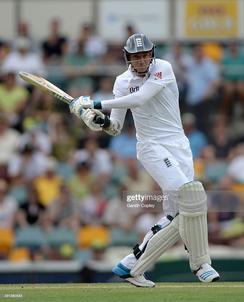 <a gi-track='captionPersonalityLinkClicked' href=/galleries/search?phrase=Stuart+Broad&family=editorial&specificpeople=574360 ng-click='$event.stopPropagation()'>Stuart Broad</a> of England bats during day two of the First Ashes Test match between Australia and England at The Gabba on November 22, 2013 in Brisbane, Australia.