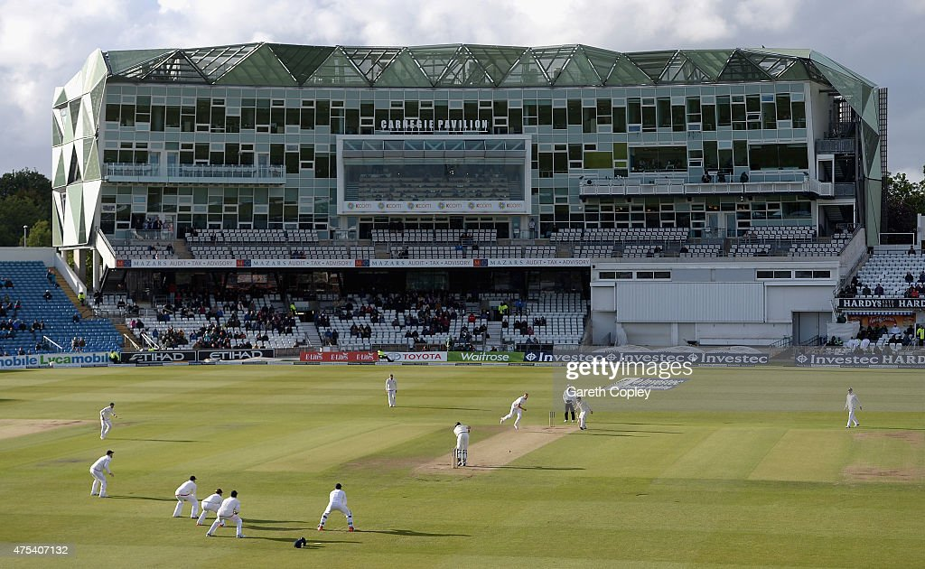 Stuart Broad of England bowls at Mark Craig of New Zealand during day three of 2nd Investec Test match between England and New Zealand at Headingley...