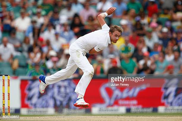Stuart Broad of England bowls during day three of the 3rd Test at Wanderers Stadium on January 16 2016 in Johannesburg South Africa