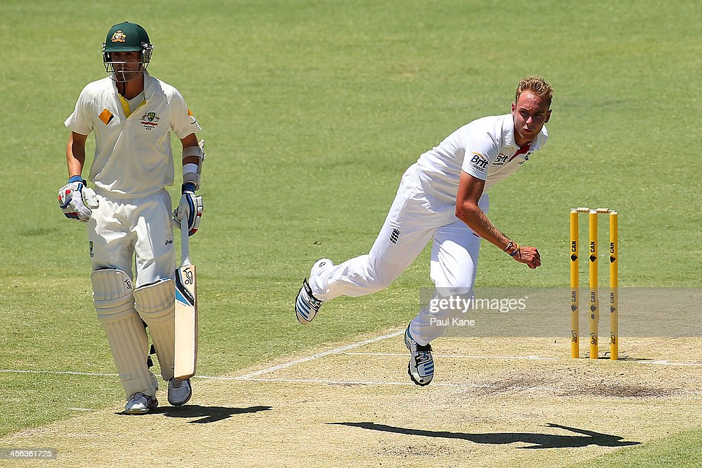 Stuart Broad of England bowls during day two of the Third Ashes Test Match between Australia and England at the WACA on December 14, 2013 in Perth, Australia.