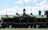 Stuart Broad of England bowls in front of the pavilion during day one of the tour match between the CA Invitational XI and England at the Sydney...