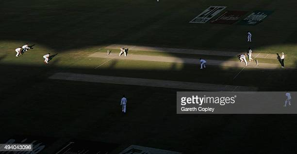 Stuart Broad of England bowls to Pakistan captain MisbahulHaq during day three of the 2nd test match between Pakistan and England at Dubai Cricket...