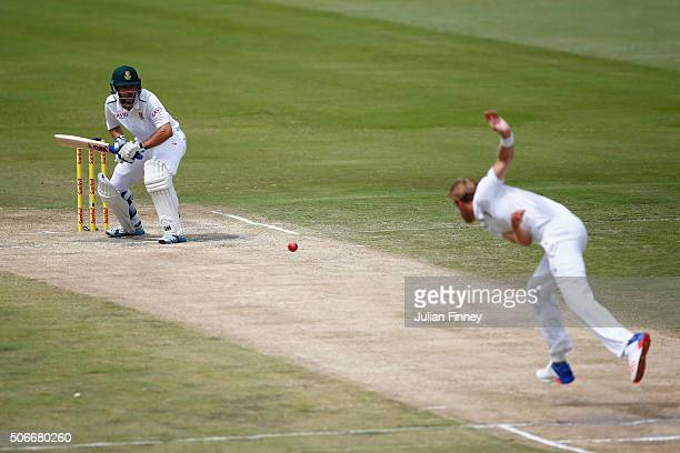Stuart Broad of England bowls to Stephen Cook of South Africa during day four of the 4th Test at Supersport Park on January 25 2016 in Centurion...