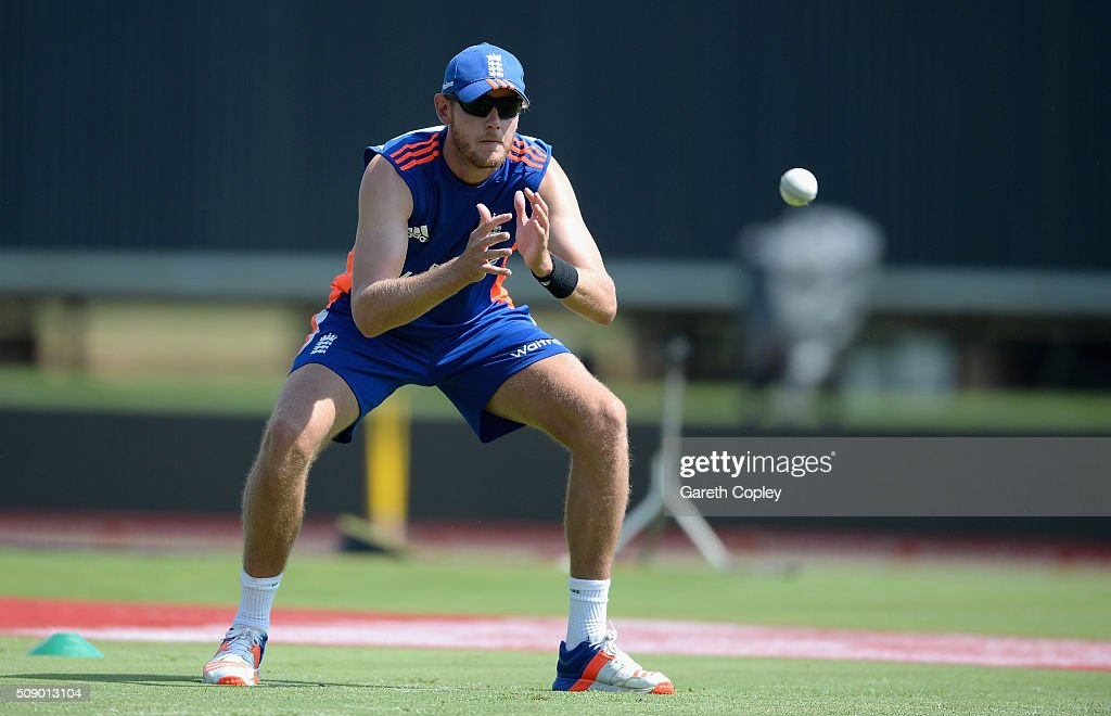 <a gi-track='captionPersonalityLinkClicked' href=/galleries/search?phrase=Stuart+Broad&family=editorial&specificpeople=574360 ng-click='$event.stopPropagation()'>Stuart Broad</a> of England catches during a nets session at Supersport Park on February 8, 2016 in Centurion, South Africa.