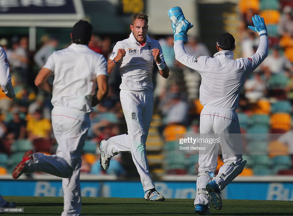 <a gi-track='captionPersonalityLinkClicked' href=/galleries/search?phrase=Stuart+Broad&family=editorial&specificpeople=574360 ng-click='$event.stopPropagation()'>Stuart Broad</a> of England celebrates after taking his fifth wicket after dismissing Mitchell Johnson of Australia during day one of the First Ashes Test match between Australia and England at The Gabba on November 21, 2013 in Brisbane, Australia.