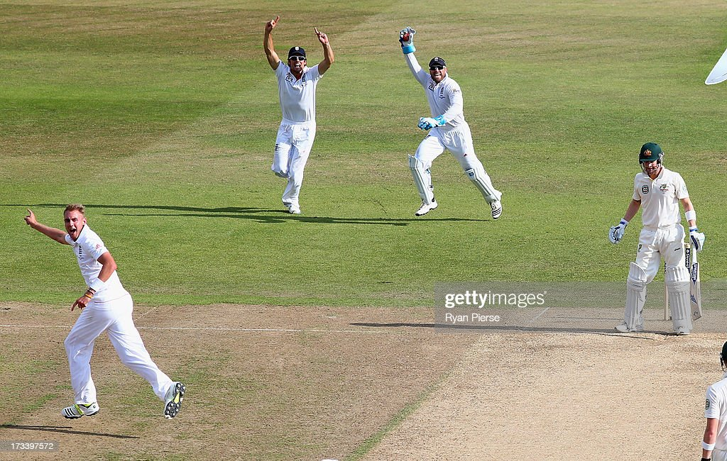 <a gi-track='captionPersonalityLinkClicked' href=/galleries/search?phrase=Stuart+Broad&family=editorial&specificpeople=574360 ng-click='$event.stopPropagation()'>Stuart Broad</a> of England celebrates after taking the wicket of Michael Clarke of Australia during day four of the 1st Investec Ashes Test match between England and Australia at Trent Bridge Cricket Ground on July 13, 2013 in Nottingham, England.