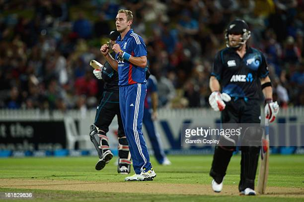 Stuart Broad of England celebrates dismissing Andrew Ellis of New Zealand during the first match of the one day international series between New...